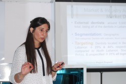 Ms. Abdallah during her Business Plan Evaluation