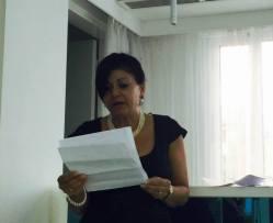 The honorable speaker Mrs. Agni Jacovides during her speech.