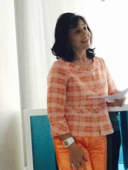 The honorable speaker Mrs. Elena Tanou during her speech.