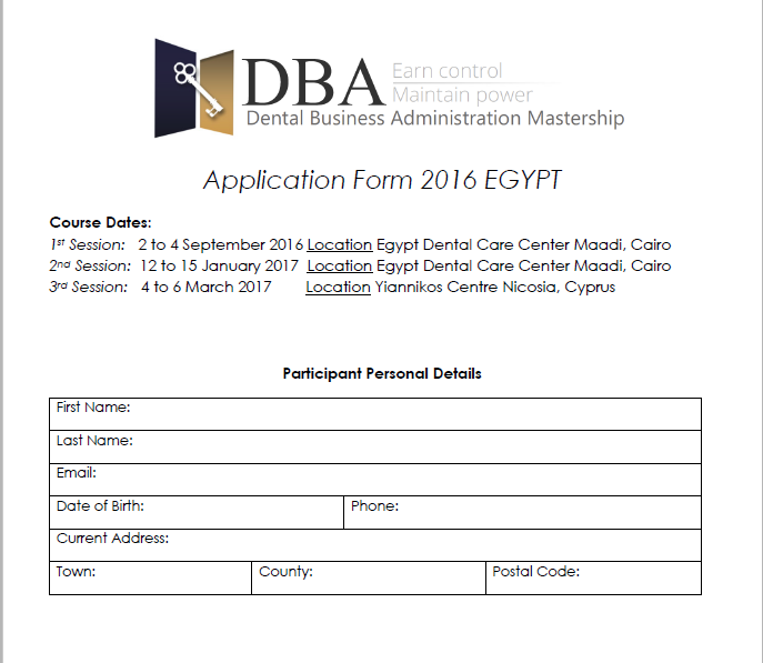 DBA Application Form Egypt